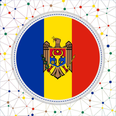 Flag of Moldova with network background. Moldova sign. Attractive vector illustration.