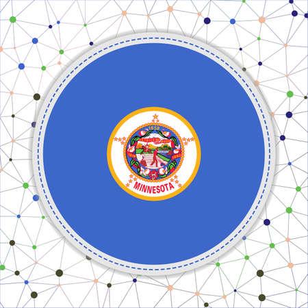 Flag of Minnesota with network background. Minnesota sign. Stylish vector illustration. Иллюстрация