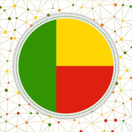 Flag of Benin with network background. Benin sign. Superb vector illustration.