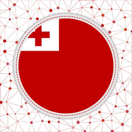 Flag of Tonga with network background. Tonga sign. Radiant vector illustration.