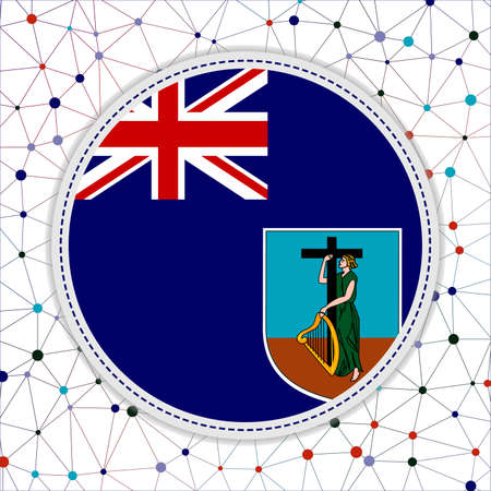 Flag of Montserrat with network background. Montserrat sign. Stylish vector illustration.