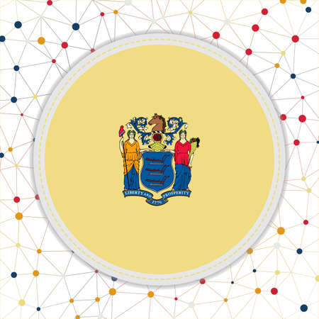 Flag of New Jersey with network background. New Jersey sign. Attractive vector illustration. 일러스트