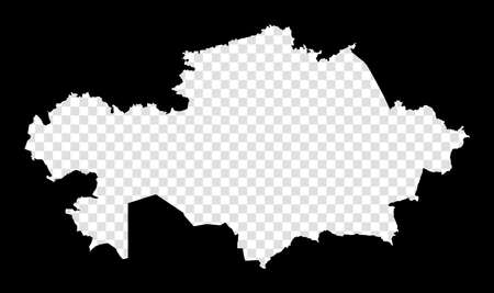 Stencil map of Kazakhstan. Simple and minimal transparent map of Kazakhstan. Black rectangle with cut shape of the country. Amazing vector illustration.