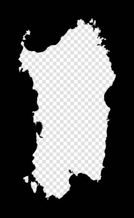 Stencil map of Sardinia. Simple and minimal transparent map of Sardinia. Black rectangle with cut shape of the island. Trendy vector illustration.