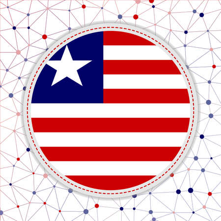 Flag of Liberia with network background. Liberia sign. Modern vector illustration.