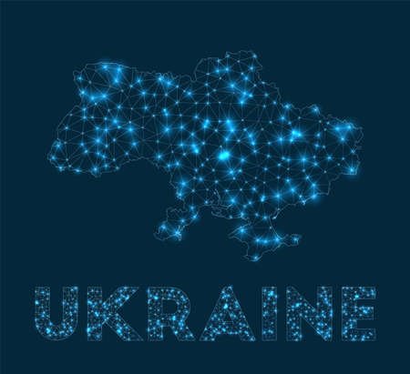 Ukraine network map. Abstract geometric map of the country. Internet connections and telecommunication design. Powerful vector illustration. 일러스트