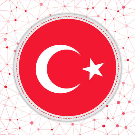 Flag of Turkey with network background. Turkey sign. Trendy vector illustration.