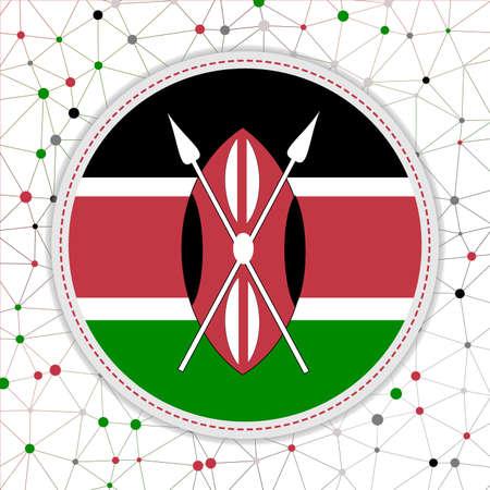Flag of Kenya with network background. Kenya sign. Attractive vector illustration. 일러스트