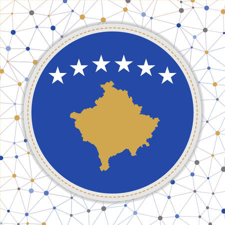 Flag of Kosovo with network background. Kosovo sign. Classy vector illustration.
