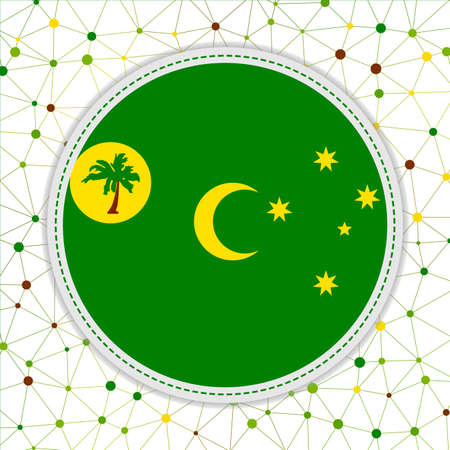 Flag of Cocos Islands with network background. Cocos Islands sign. Powerful vector illustration. 일러스트