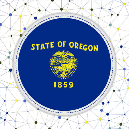 Flag of Oregon with network background. Oregon sign. Classy vector illustration.