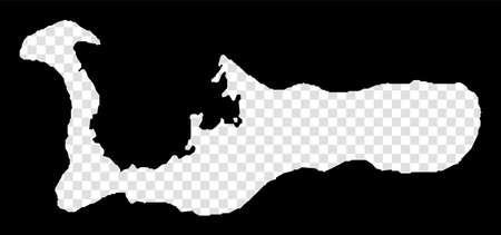 Stencil map of Grand Cayman. Simple and minimal transparent map of Grand Cayman. Black rectangle with cut shape of the island. Astonishing vector illustration.