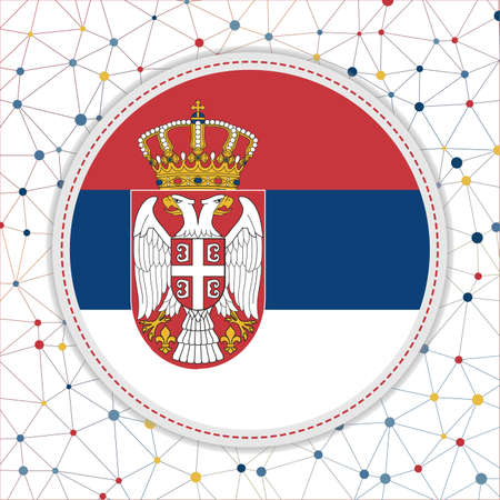 Flag of Serbia with network background. Serbia sign. Trendy vector illustration.