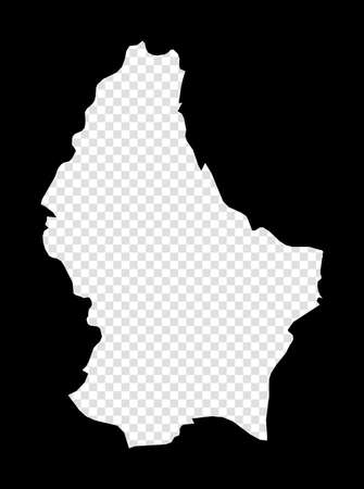 Stencil map of Luxembourg. Simple and minimal transparent map of Luxembourg. Black rectangle with cut shape of the country. Elegant vector illustration.
