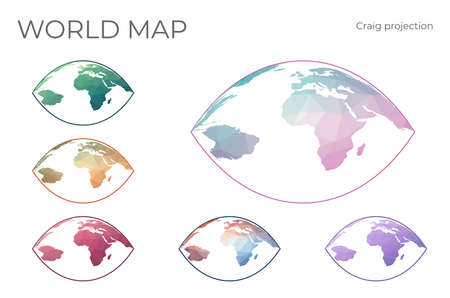 Low Poly World Map Set. Craig retroazimuthal projection. Collection of the world maps in geometric style. Vector illustration. 向量圖像