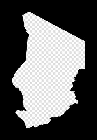 Stencil map of Chad. Simple and minimal transparent map of Chad. Black rectangle with cut shape of the country. Attractive vector illustration.