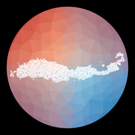 Vector network Flores map. Map of the island with low poly background. Rounded Flores illustration in technology, internet, network, telecommunication concept style . Neat vector illustration.