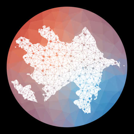 Vector network Azerbaijan map. Map of the country with low poly background. Rounded Azerbaijan illustration in technology, internet, network, telecommunication concept style.