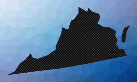 Virginia geometric map. Stencil shape of Virginia in low poly style. Artistic us state vector illustration.