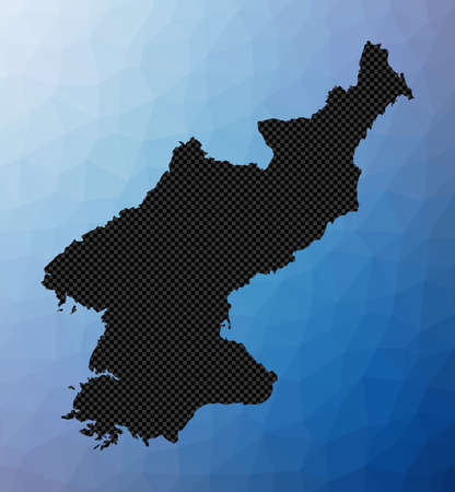 North Korea geometric map. Stencil shape of North Korea in low poly style. Appealing country vector illustration.
