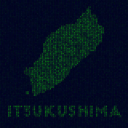 Digital Itsukushima logo. Island symbol in hacker style. Binary code map of Itsukushima with island name. Trendy vector illustration. 向量圖像