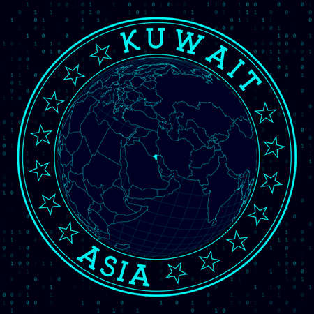 Kuwait round sign. Futuristic satelite view of the world centered to Kuwait. Country badge with map, round text and binary background. Vibrant vector illustration.