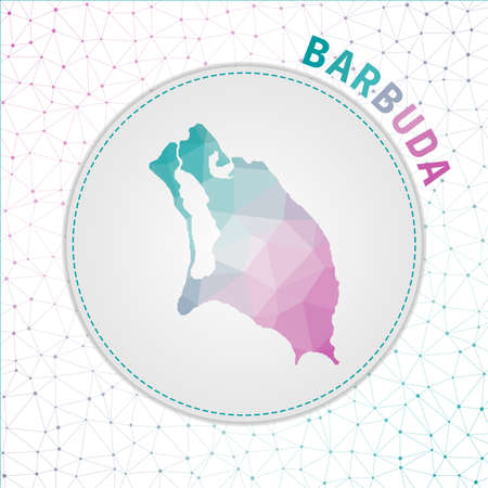 Vector polygonal Barbuda map. Map of the island with network mesh background. Barbuda illustration in technology, internet, network, telecommunication concept style . Elegant vector illustration.