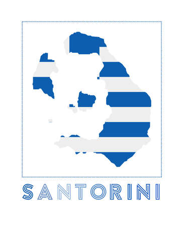 Map of Santorini with island name and flag. Astonishing vector illustration.