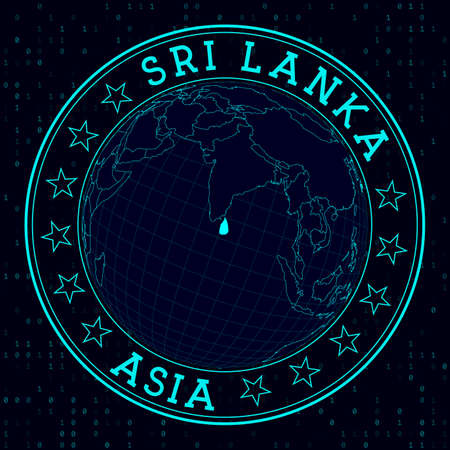 Sri Lanka round sign. Futuristic satelite view of the world centered to Sri Lanka. Country badge with map, round text and binary background. Attractive vector illustration. 向量圖像
