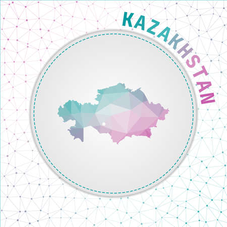 Vector polygonal Kazakhstan map. Map of the country with network mesh background. Kazakhstan illustration in technology, internet, network, telecommunication concept style.