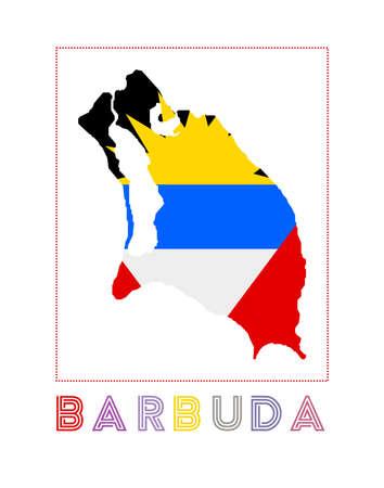 Map of Barbuda with island name and flag. Astonishing vector illustration.