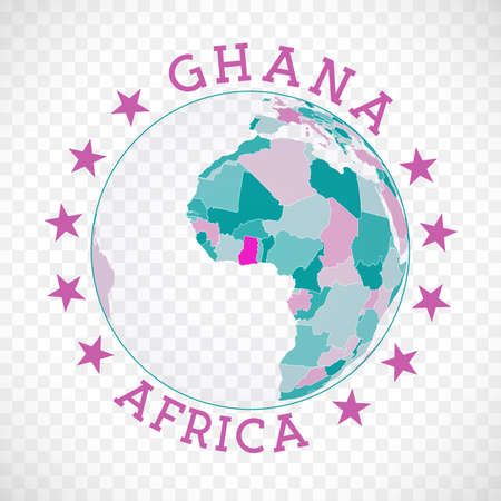 Badge of country with map of Ghana in world context. Country sticker stamp with globe map and round text. Captivating vector illustration.