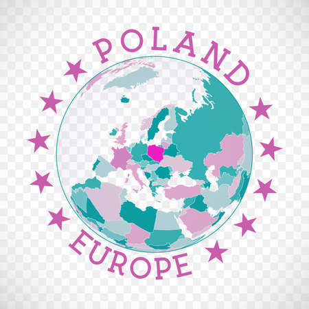 Poland round. Badge of country with map of Poland in world context. Country sticker stamp with globe map and round text. Captivating vector illustration.