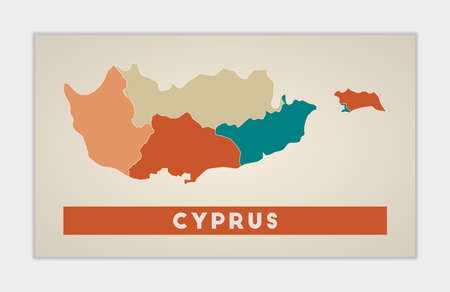 Cyprus poster. Map of the country with colorful regions. Shape of Cyprus with country name. Amazing vector illustration. 向量圖像
