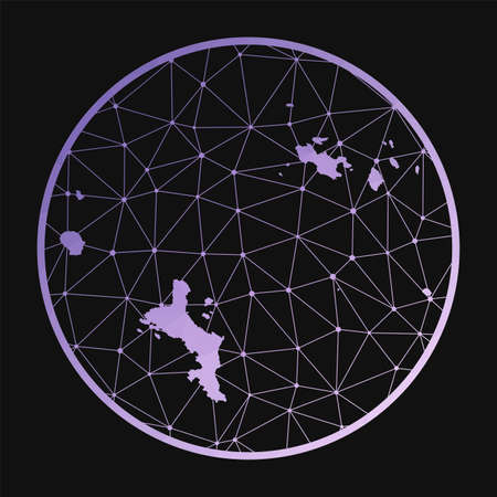 Seychelles icon. Vector polygonal map of the island. Seychelles icon in geometric style. The island map with purple low poly gradient on dark background.