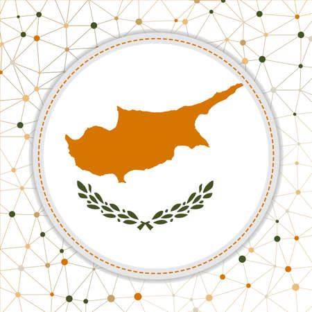 Flag of Cyprus with network background. Cyprus sign. Cool vector illustration.