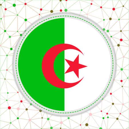 Flag of Algeria with network background. Algeria sign. Stylish vector illustration.