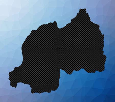 Rwanda geometric map. Stencil shape of Rwanda in low poly style. Captivating country vector illustration. Vettoriali