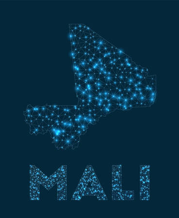 Mali network map. Abstract geometric map of the country. Internet connections and telecommunication design. Trendy vector illustration.