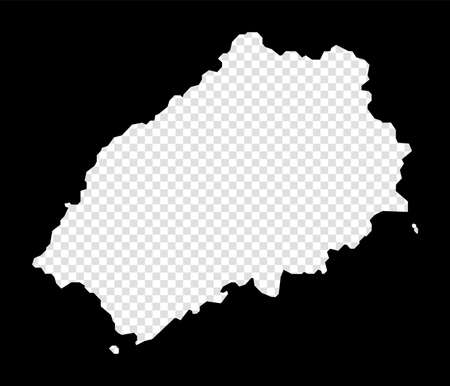 Stencil map of Saint Helena. Simple and minimal transparent map of Saint Helena. Black rectangle with cut shape of the island. Authentic vector illustration.