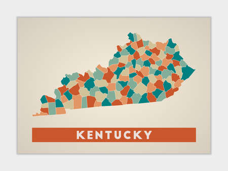 Kentucky poster. Map of the us state with colorful regions. Shape of Kentucky with us state name. Trendy vector illustration.