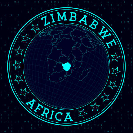 Zimbabwe round sign. Futuristic satelite view of the world centered to Zimbabwe. Country badge with map, round text and binary background. Trendy vector illustration.
