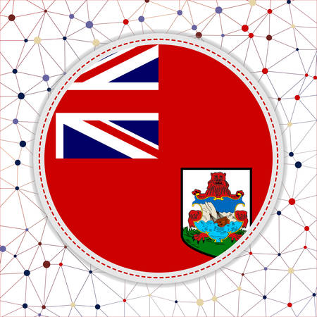 Flag of Bermuda with network background. Bermuda sign. Beautiful vector illustration.
