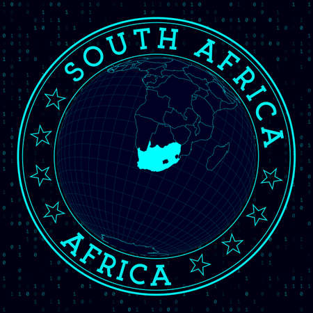 South Africa round sign. Futuristic satelite view of the world centered to South Africa. Country badge with map, round text and binary background. Stylish vector illustration. Ilustração