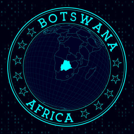 Botswana round sign. Futuristic satelite view of the world centered to Botswana. Country badge with map, round text and binary background. Astonishing vector illustration.