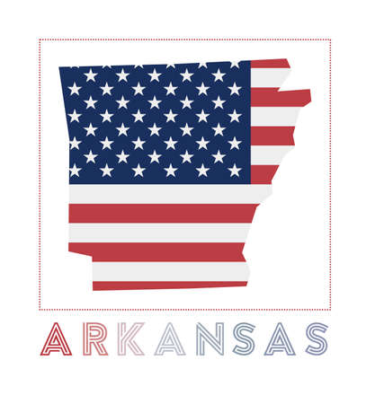 Arkansas Logo. Map of Arkansas with us state name and flag. Elegant vector illustration.