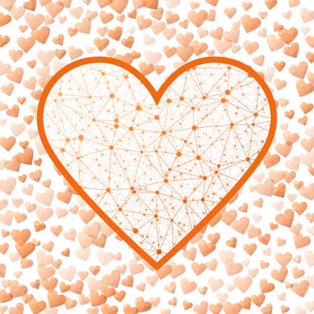 Low Poly Heart. Geometric heart mesh in orange color shades, orange connections. Appealing network style vector illustration.
