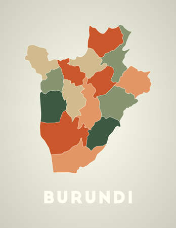Burundi poster in retro style. Map of the country with regions in autumn color palette. Shape of Burundi with country name. Radiant vector illustration. Illustration