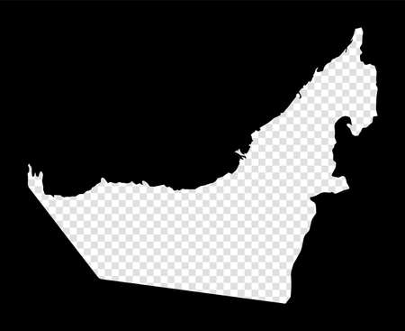 Stencil map of UAE. Simple and minimal transparent map of UAE. Black rectangle with cut shape of the country. Charming vector illustration.