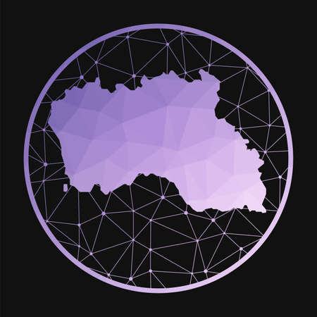 Santa Maria Island icon. Vector polygonal map of the island. Santa Maria Island icon in geometric style. The island map with purple low poly gradient on dark background.